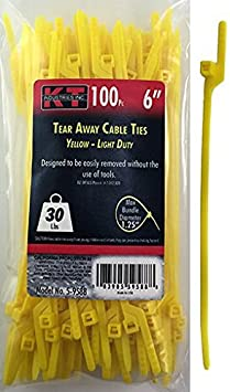Yellow 100-Pack K-T Industries 5-9588 6-Inch Tear Away Cable Ties Light Duty
