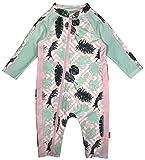 SwimZip Little Girl Long Sleeve Sunsuit Romper Swimsuit UPF 50 Sun Protection