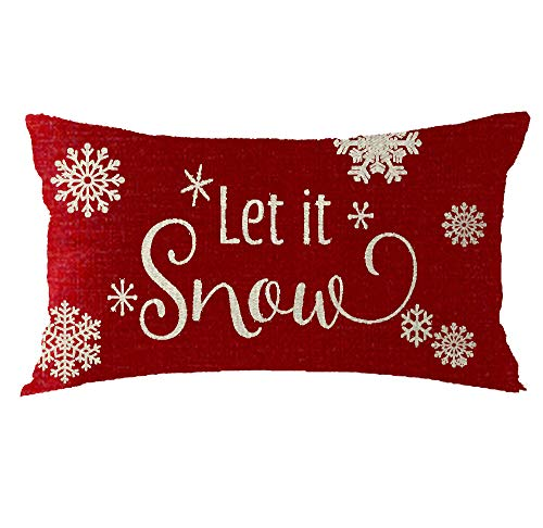Bnitoam Red Snowflake Let It Snow Gift Holiday Cotton Linen Throw Pillow Covers Case Cushion Cover Sofa Decorative Square 12x20 inch Decorative Pillow Wedding