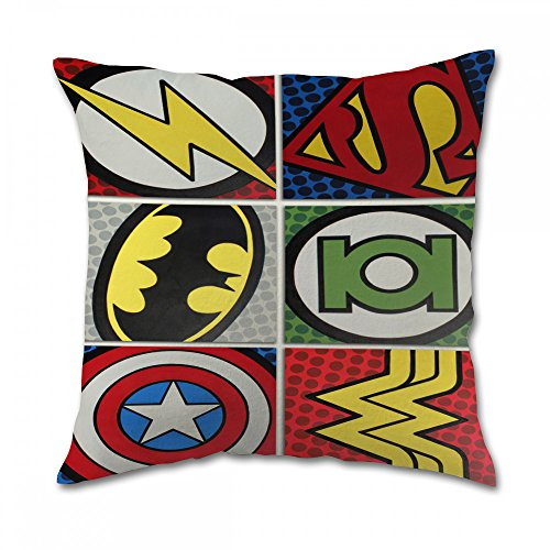 Dc Comic Marvel Superhero Pillow Cover (20x20 inch twin side) (Marvel Comic Pillows compare prices)