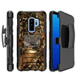 MINITURTLE Case Compatible w/ Rugged Samsung Galaxy S9 Case [CLIP ARMOR DEFENSE SERIES] High-Impact Heavy Duty Galaxy S9 Case w/ Stand & Bonus Belt-Clip Holster for S9 - Deer Hunting Camo