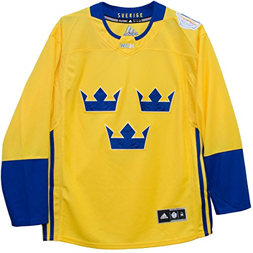 Sweden World Cup of Hockey 2016 Adidas Yellow Men's Premier Jersey (Small)