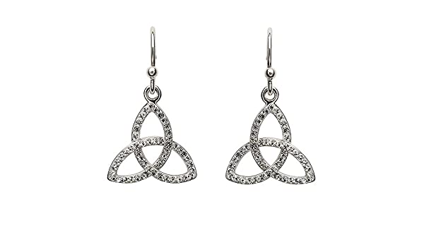 340019965 Amazon.com: Sterling Silver Trinity Earrings Adorned By Swarovski Crystals  - Made in Ireland: Jewelry