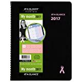 AT-A-GLANCE Monthly Planner/Appointment Book 2017, Quick Notes, Breast Cancer Awareness, 8-1/4 x 10-7/8'' (76PN0605)