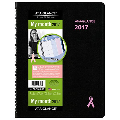 AT-A-GLANCE Monthly Planner / Appointment Book 2017, Quick Notes, Breast Cancer Awareness, 8-1/4 x 10-7/8