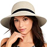 FURTALK Women Brim Sun Hat Summer Beach Cap UPF UV Packable Straw Hat for Travel(Medium, Adult NormalBrim, Beige)
