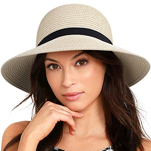 (FURTALK Women Brim Sun Hat Summer Beach Cap UPF UV Packable Straw Hat for Travel(Medium, Adult NormalBrim, Beige))