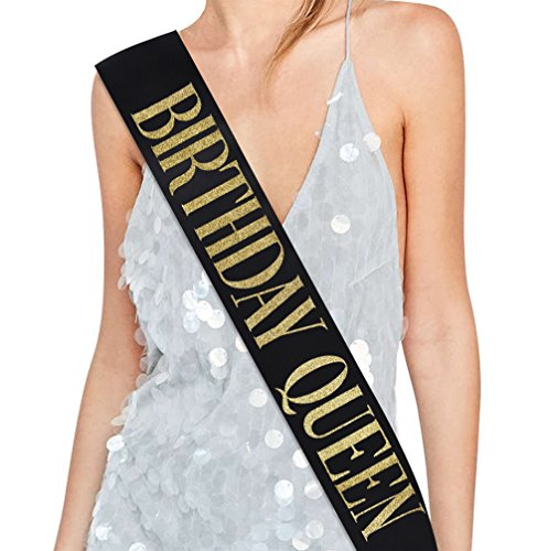 Birthday Queen Sash - 15th 16th 17th 18th 21st 22nd 25th 30th 40th 50th Birthday Sash Birthday Gifts Party Favors, Supplies and Decorations (Black & Glitter Gold)