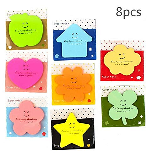 (Sticky Notes Carnatory Self-Stick Notes Memo Notes, Paper Memo, Paper Notes Value Pack for Students, Office and Home Use(Heart, Leaf, Star, Apple, Flower, House,Clouds Shaped etc (Random))