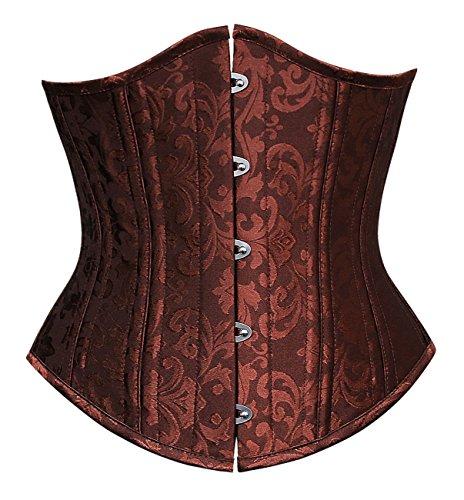 Ecilu Women's 26 Steel Boned Vintage Brocade Underbust Waist Training Steampunk Corset Brown Large