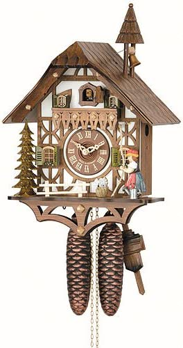 German Cuckoo Clock 8-day-movement Chalet-Style 15.00 inch – Authentic black forest cuckoo clock by Hekas