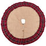 Fennco Styles Glendora Collection Classic Plaid Design Ruffle Design Jute Christmas Tree Skirt (56'' Tree Skirt, #4)
