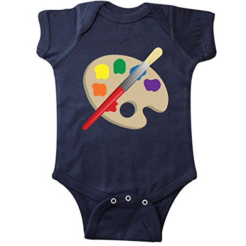 inktastic Artist Palette and Brush Infant Creeper 6 Months Navy Blue