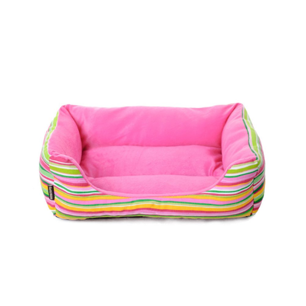 WuKong Rainbow Striped Square Pet Nest Kennel Cat Nest Small Dog Bed Nest (S: 17.5''x15.6''x4.6'', Pink)
