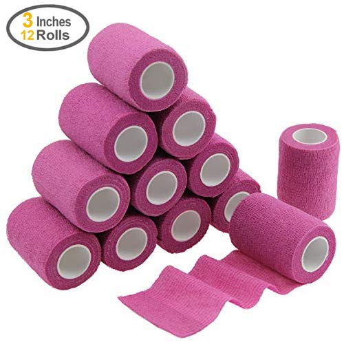 MUEUSS Self-Adhesive Bandage Wrap Tape Waterproof Breathable Elastic Cohesive Non-Woven FDA Approved 3 Inches x 5 Yards (Pink, 12 roll) ()