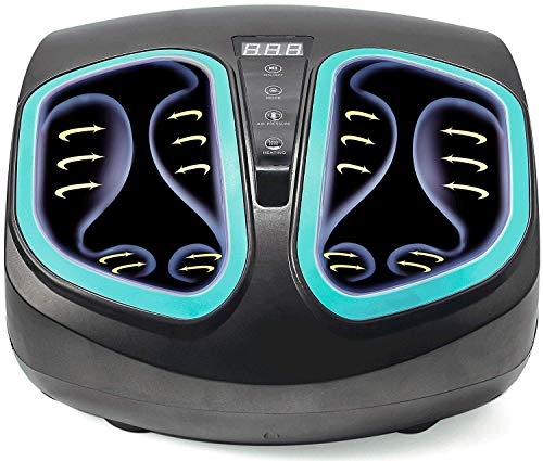 Electric Foot Massager Machine with Heat - Shiatsu, Deep Kneading Foot Massage with Soothing Infrared Heat and Air Compression Relieve Pains from Plantar Fasciitis and Tired Feet ()