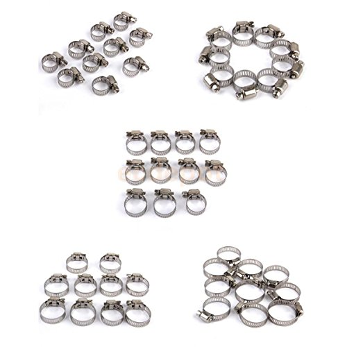50pcs 5 sizes Adjustable Fuel Line Jubilee Hose Spring Clamp Petrol Pipe - Cap Russell Hose