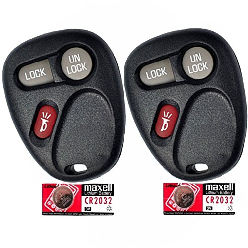 Discount Keyless Pair of Replacement 3 Button Automotive Keyless Entry Remote Control Transmitters with Extra Batteries Compatible with GM Vehicles 15042968