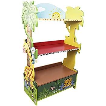 Fantasy Fields - Sunny Safari Animals Thematic Kids Wooden Bookcase with Storage