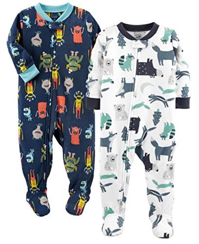 Carter's Baby Boys' 2-Pack Fleece Pajamas (Colorful Print, 18 Months)