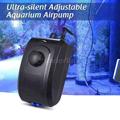 MNWorld 4W 3.5L/min Ultra-silent Aquarium Air Pump Fish Tank Oxygen Pump 2 Outlets - Mn Outlets