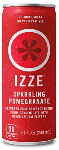 IZZE Fortified Sparkling Juice, Pomegranate, Pack of 24, 8.4 oz Cans