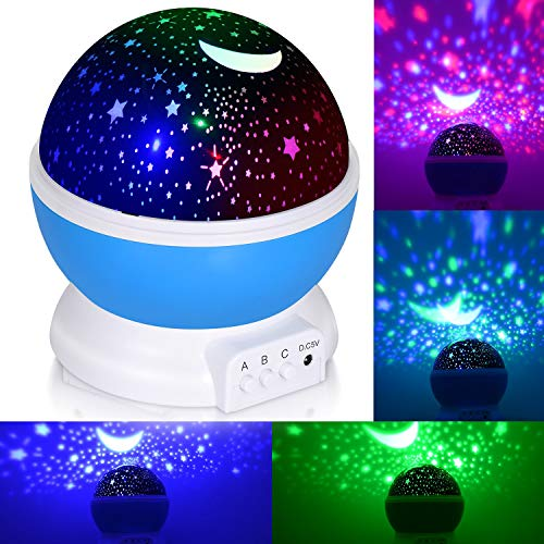SUNNEST Baby Night Light, Rotating Star Sky Projector Night Light Lamp with 8 Modes, Color Changing, USB Cable for Kids Adults Nursery Decor Bedroom from SUNNEST