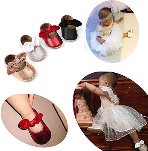 51O07rynEoL. AC - Antheron Baby Girls Mary Jane Flats With Bowknot Non-Slip Toddler First Walkers Princess Dress Shoes