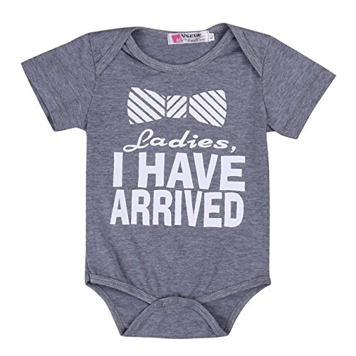Pie Ladies I Have Arrived Baby Infant Funny Bodysuits Newborn Rompers 3 6M Grey