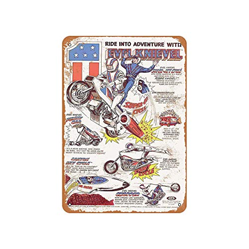 Fhdang Decor 1977 Evel Knievel Toys Vintage Look Metal Sign Aluminum Sign,6x9 Inches