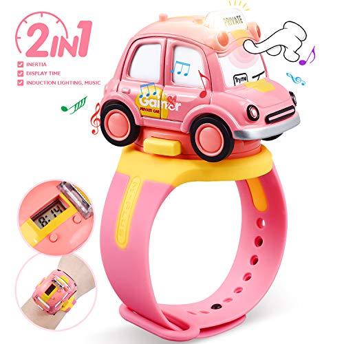 Peradix Kinder Spielzeug Auto - Mini Taxi und Armbanduhr Geschenkset,Die-Cast Fahrzeuge für Junge Mädchen mit Licht und Musik Induktionsfunktion ab 3 Jahren für Party Kindergeburtstag (Rose)