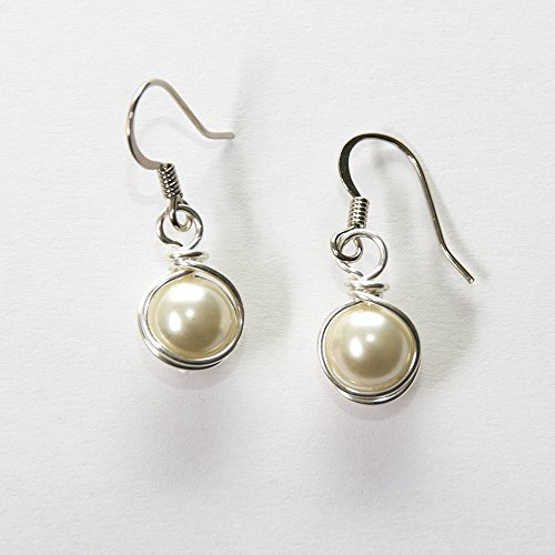 Cream White Simulated Pearl Wire Wrapped Dangle Earrings - Handmade Jewelry - Handmade Wire Wrapped Earrings