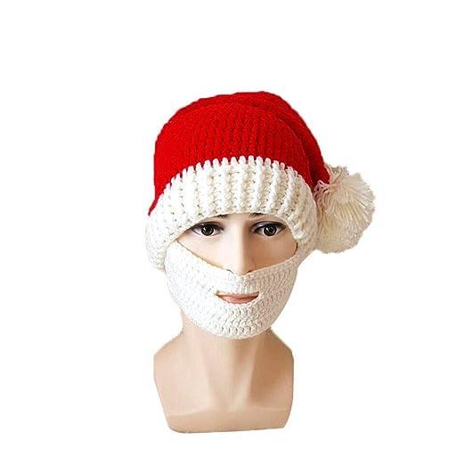 b5ef503182e Amazon.com  Hankyky Christmas Santa Beard Beanie Hat Winter Knitted Crochet  Hat and Fake Beard Facemask  Clothing