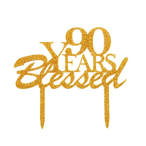 90 Years Blessed Cake Topper, Acrylic Cake Decor for 90th Birthday Party- Gold Color