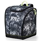 High Sierra Trapezoid Ski Boot Bag Backpack with Compression Straps and Zippered Compartments for Ski and Travel Gear Atmosphere/Black/Zest