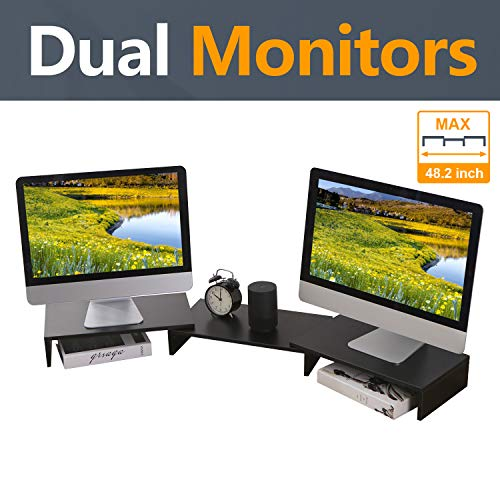 TAVR Wood Dual Monitor Stand Riser with Length and Angle Adjustable 3 Shelf Multifunctional Desktop Organizer Computer Tabletop Screen Riser Stand for TV PC Laptop, Max 48.2