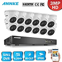 ANNKE 16CH 3-Megapixel (1920x1536P) Outdoor Security Camera System 4K DVR Recorder and (12) 3MP CCTV Weatherproof Cameras with Metal Housing, NO HDD