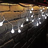 Decorative Globe String Lights 100 LED Bulbs 33 feet Length with Tail Plug to Extend for Chritmas Festival, Home and Garden Fairy Decorations (White Brightness)