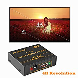 ANENG HDMI Splitter 1x2 / 1 Input 2 Output 4K 3D Powered Amplified Signal Distributor Video Splitter Switch for Dual Monitor