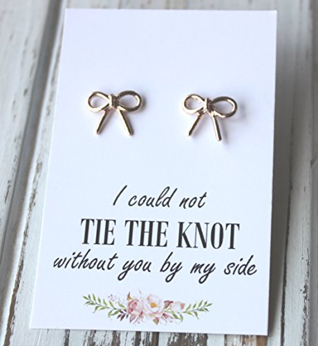 (FREE SHIPPING. Rose Gold or Silver Plated Bow Earrings. I Could Not Tie The Knot Post Stud Earrings Bridesmaid Maid of Honor Bridal Wedding)