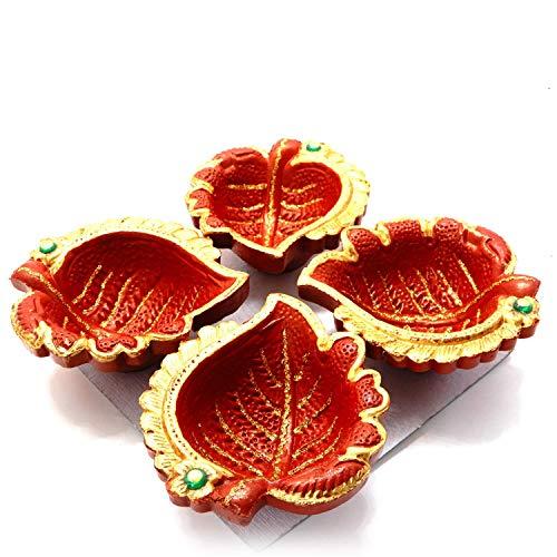 Starnk Set of 4 Handmade Decorative Diwali Clay Diyas for Diwali Decorations Terracotta Earthen Clay/Traditional Diya/New Year Gift 6.5 Inch for $<!--$9.99-->