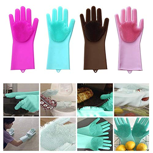 ZOQWEID Silicone Scrubbing Gloves, Non-Slip, Dishwashing and Pet Grooming, Magic Latex Gloves for Household Cleaning…