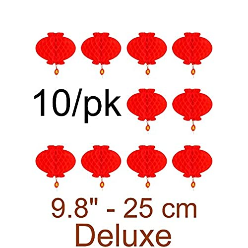 Chinese red paper amazon masterchinese 10pk 10 25cm chinese spring festival wedding red paper lantern deluxe junglespirit Choice Image