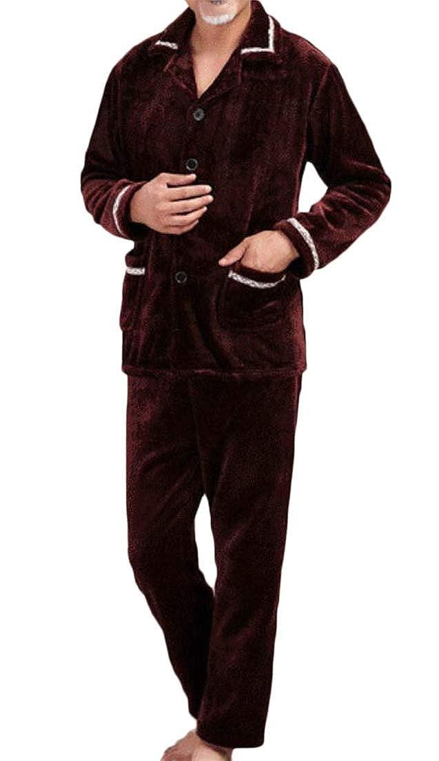 Macondoo Mens Warm Loungewear Nightie Fall Winter Pure Color 2 Piece Flannel Pajama Set