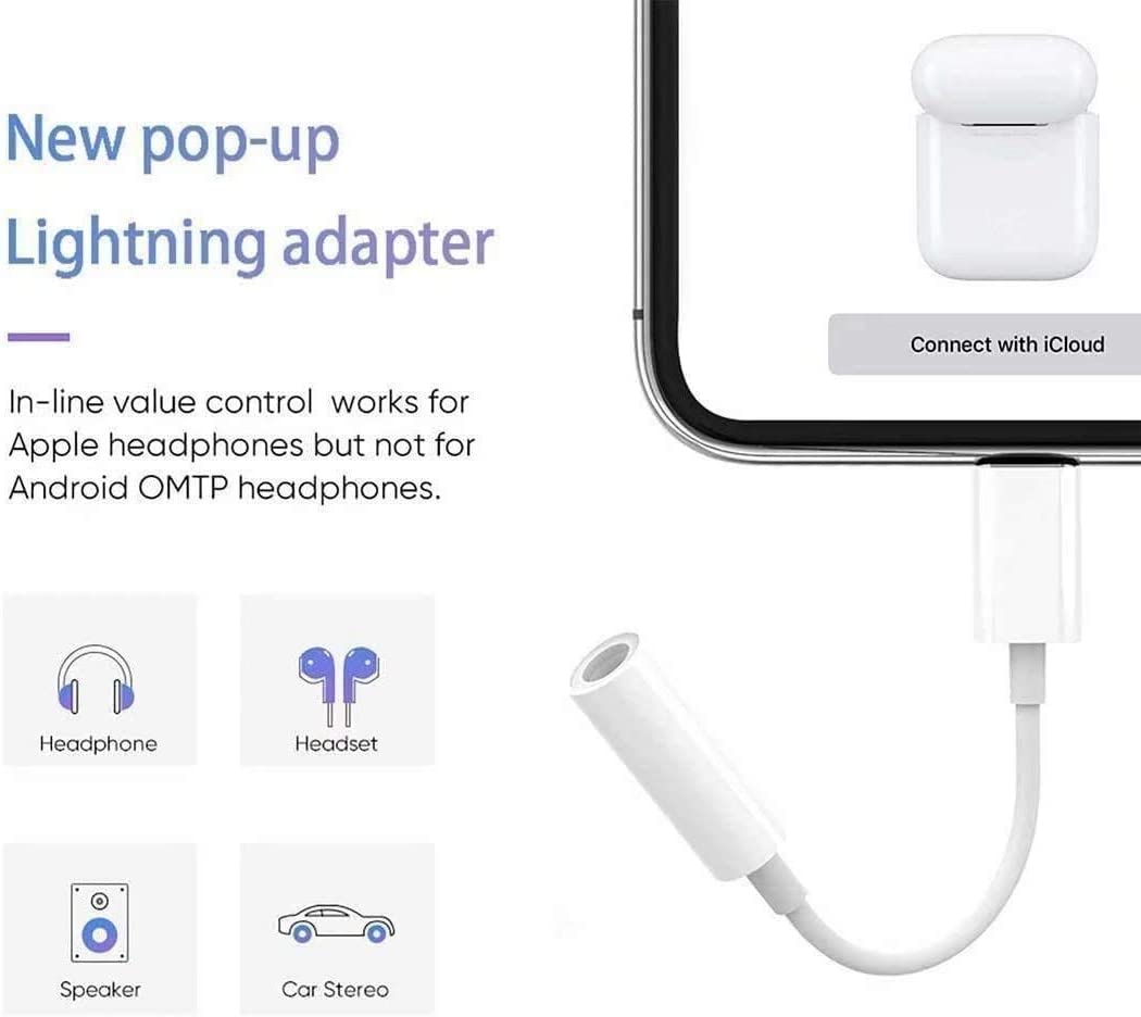 3 Pack for iPhone Headphones Adapter to 3.5mm Dongle Jack Adapter Aux Cable Converter Accessories Compatible with iPhone11//Xs MAX//XR//X//8//7//ipad//iPod Support All iOS