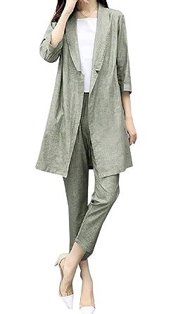 Highisa Women Regular Fit Open Front Dress Suit Flat Front Pants Set