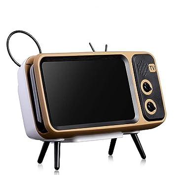 Treasurem Altavoz Bluetooth inalámbrico Estilo TV, Retro Soporte para teléfono Audio Bluetooth portátil Altavoz con Power Bank (Marrón): Amazon.es: Electrónica