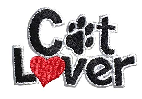 Cat Lover - Heart and Paw Print - Pets - Iron on Applique - Embroidered Patch