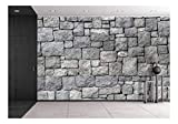 wall26 - Old Gray Stone Wall, Seamless Background Photo Texture - Removable Wall Mural | Self-Adhesive Large Wallpaper - 100x144 inches