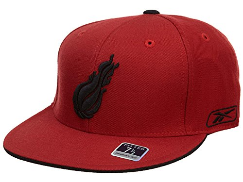 Hat Miami Top - Reebok Miami Heat Fitted Hat Mens Style: HAT612-RED/BLACK Size: 8